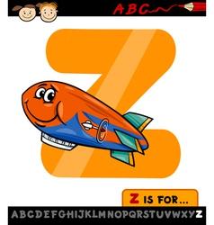 Letter z with zeppelin cartoon vector