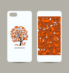 Mobile phone cover design foxy tree sketch vector