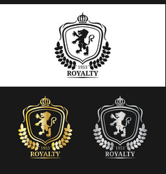 monogram logo template luxury crown design vector image
