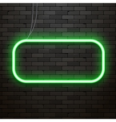 Neon sign on a brick wall Neon glowing decoration vector image