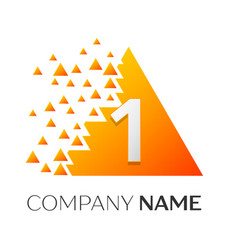 number one symbol on colorful triangle vector image vector image