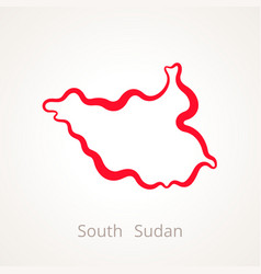 Outline map of south sudan marked with red line vector