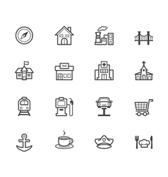 place black icon set on white background vector image