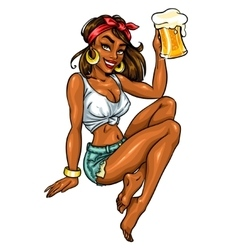 Pretty Pin Up Girl holding beer mug vector image vector image