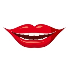 Red lips icon cartoon style vector