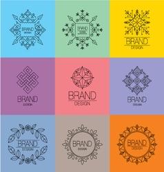 Set of art line brand elements vector