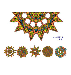Set of colorful mandalas decorative round vector