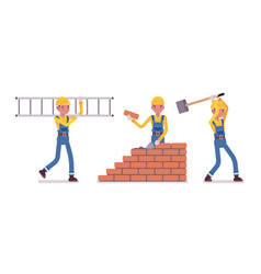 set of male construction worker vector image
