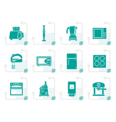 Stylized kitchen and home equipment icons vector