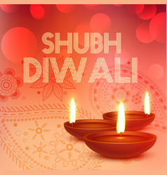 Subh diwali background with diya in red color vector