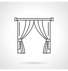 Theater curtain flat line icon vector