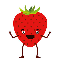 White background of caricature strawberry fruit vector