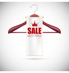 Wooden hanger with advertising label vector image