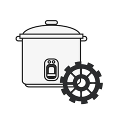 Rice cooker and gear icon vector