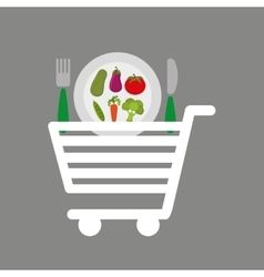Shopping cart vegetables food vector