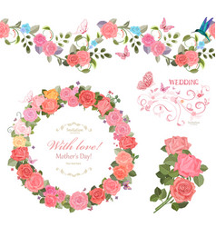 Floral collection with roses seamless border and vector