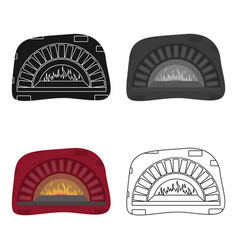 Wood-fired oven icon in cartoon style isolated on vector