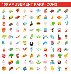 100 amusement park icons set isometric 3d style vector
