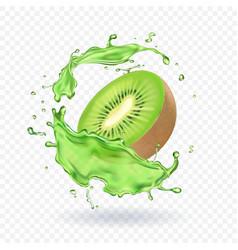 Fresh kiwi fruit juice splashing realistic 3d vector