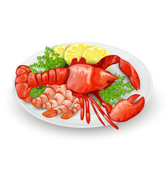 Lobster on plate vector