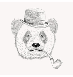 Sketch panda face with black bowler hat and vector