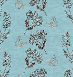 Vintage seamless pattern with herbs on a blue vector