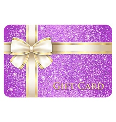 Violet shiny gift card composed from glitters vector