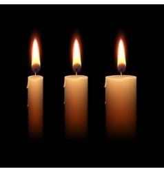 Candles flame fire light isolated background vector
