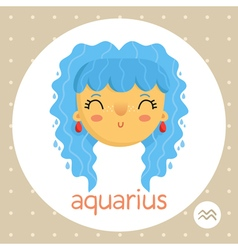 Aquarius zodiac sign girl with water drops vector