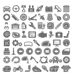 Black icons car and motorcycle parts vector