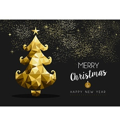 Merry christmas happy new year golden pine tree vector