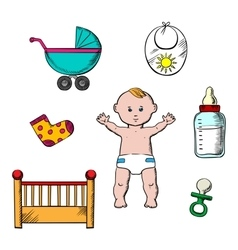 Colorful childish and baby icons vector