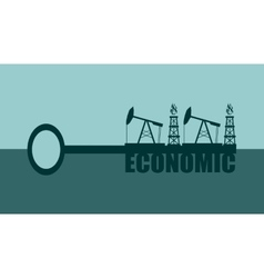 Key with economic word and mining equipment icons vector