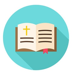 Open christian bible book with bookmark and cross vector