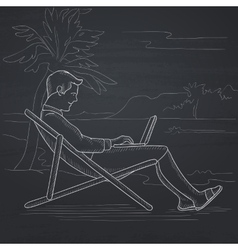 Businessman sitting in chaise lounge with laptop vector