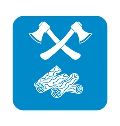 Ax and firewood icon vector