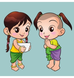 Traditional thai boy and girl vector
