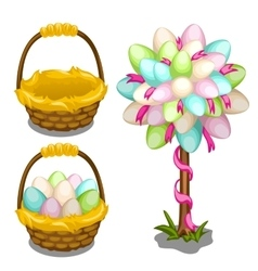 Basket with easter eggs and tree decoration vector