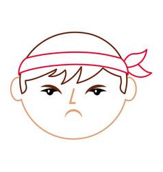 cartoon face angry chinese man vector image