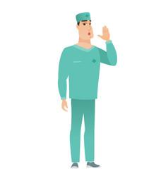 Caucasian doctor calling for help vector