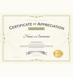 Certificate of appreciation template with silver vector