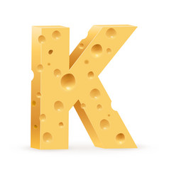 Cheese font k letter on white vector