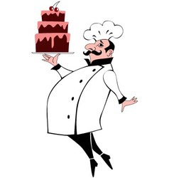 Chef with a cake vector