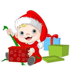 Christmas baby open gift vector