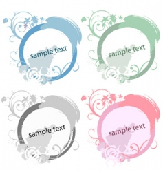 circle floral frame set vector image