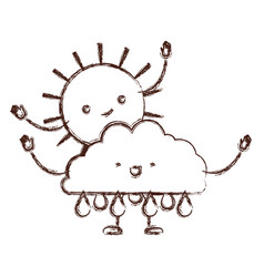 clouds with rain and sun kawaii caricature with vector image
