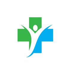 Cross people bio ecology logo image vector
