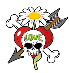Death and love Skull and red heart Sign for vector image vector image