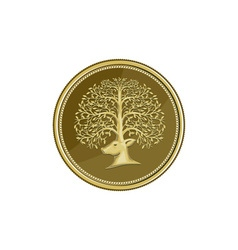 Deer head tree antler gold coin retro vector