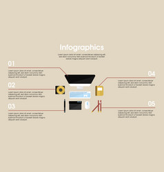 Designer workplace elements infographic concept vector